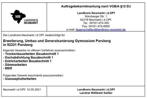 Auftragsbekanntmachung nach VOB/A §12 EU